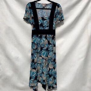 Susan Lawrence Teal/Cream/Black Dress, L